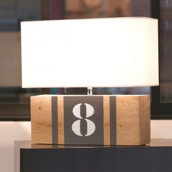 Lampe bois naturel BrickNumber XL
